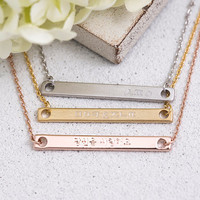 Korean Engraved Bar Necklace, Name Plate - Bridesmaid Gift, Gift for Her, Gift For Mom, Gold, Rose Gold, Silver,LUVINMARK,LVMKK5