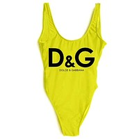D&G Dolce & Gabbana Women's Tide brand sexy high waist one-piece bikini Yellow
