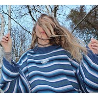 Knitted Oversized Blue Cropped Sweater