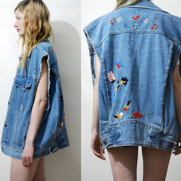 90s Vintage EMBROIDERED Denim Vest Oversized Sleeveless Jacket Hand Embroidery Floral Folk Bohemian Hippie 1990s vtg L
