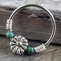 Silver Daisy and Teal Beaded Hoop Earrings Or Nose Hoop