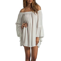 Hot New 2016 Spring Summer Women Ladies Vintage Off Shoulder Boho Beach Chiffon Dress Casual Long Sleeve Sexy Party Dresses Z1