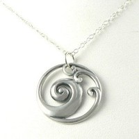 Waves Sterling Silver Ocean Necklace Jewelry Pendant, 16IN
