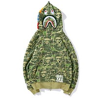 BAPE AAPE Newest Trending Stylish Letter Shark Mouth Hooded Sweater Zipper Cardigan Jacket Coat Green I13835-1