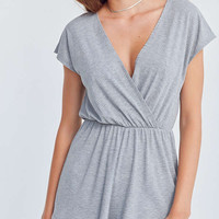 Kimchi Blue Ribbed Surplice Romper | Urban Outfitters