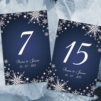 DIY Printable Wedding Table Number Template | Editable MS Word file | 4 x 6 | Instant Download | Winter White Snowflakes Royal Navy Blue