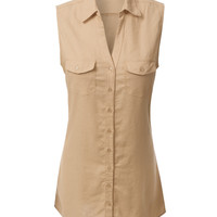 LE3NO Womens Lightweight Sleeveless Button Down Tunic Shirt Dress with Pockets (CLEARANCE)