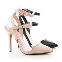 Adora94 By Wild Diva, D'Orsay Pointy Toe Strappy Ankle Stiletto Dress Heels