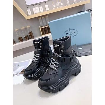 prada trending womens black leather side zip lace up ankle boots shoes high boots 20