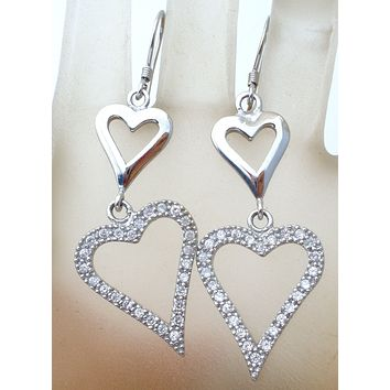 Dangle Heart CZ Earrings Sterling Silver