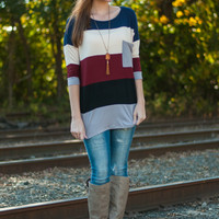 Striped Colorblock Top, Black/Gray