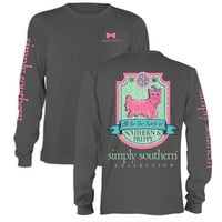 Simply Southern  Preppy Puppy Dog Yorkie Bow Charcoal Long Sleeve T-Shirt