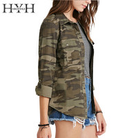 HYH HAOYIHUI 2016 Brand New Spring&Summer Casual Fashion Women Camouflage Jacket Sheath Disposition Outerwear Vogue Ladies Coat
