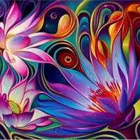 5D Diamond Painting Abstract Flowers Kit