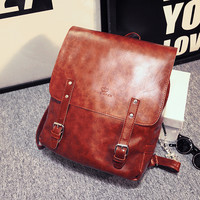 Vintage Retro Brown Leather Soft Backpack Daypack for Women
