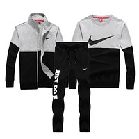 Nike Fashion Casual Cardigan Jacket Coat Top Sweater Pants Trousers Set Three-Piece-1