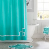 Emma Ribbon Trim Shower Curtain, Pool