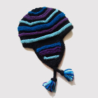 Striped Peruvian Knit Hat, Women and Teen Accessory, Ski Hat
