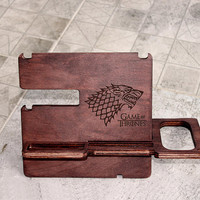 Game of Thrones Docking Station Personalized Docking Stand Iphone docking Wooden Stand Gift for Him for men for dad