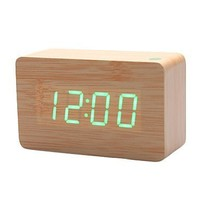 KABB Light Brown Wood Grain Green LED Light Alarm Clock - Time Temperature - Sound Control - Latest Generation(USB/3xAAA):Amazon:Cell Phones & Accessories