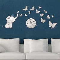 Mirror Stylish Strong Character Decoration Butterfly Clock [6057116737]