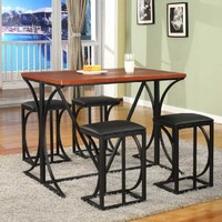 5 Pc. Kings Brand Dining Room Kitchen Table and 4 Chairs With Cushion Seats