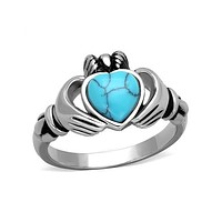 Turquoise Claddagh - Stainless Steel Ring With Synthetic Sea Blue Stone