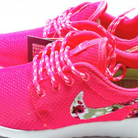 custom nike free roshe pink run athletic women shoes with fabric flowers