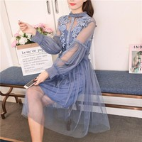 Spring summer vintage women flower sweet gauze lace party dress retro long lantern sleeve tulle fairy dress female 2 pcs set