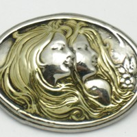 ART NOUVEAU 925 Sterling Silver Repousse Maidens Brooch and Pendant