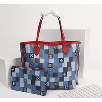 LV Louis Vuitton WOMEN'S MONOGRAM CANVAS Patchwork NEVERFULL HANDBAG TOTE BAG