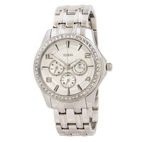 Guess U0147L1 Women's Glamour Silver Dial Steel Bracelet Crystal Watch