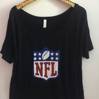 NFL- Off The Shoulder Shirt Slouchy Relaxed Fit Tank - Ruffles with Love - Fashion Tee - Graphic Tee - Workout Tank