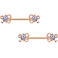 Clear CZ Gem Rose Gold Tone All Tied Up Barbell Nipple Ring Set