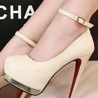 Ladies Fashion High Heel Platform Ankle Strap Shoes In BEIGE from NaomiShu