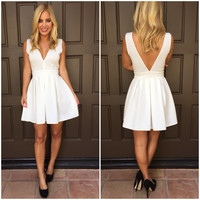 Deep V Tea & Crumpets Dress - WHITE