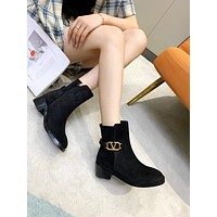 Valentino Trending Women's men Leather Side Zip Lace-up Ankle Boots Shoes High Boots 0721