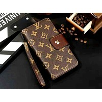LV Tide brand card holster iPhoneXS mobile phone case cover Coffee print