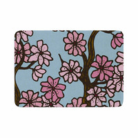 "Art Love Passion ""Cherry Blossom Day"" Floral Illustration Memory Foam Bath Mat"