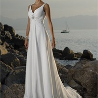 Glamourous Off-the-shoulder V-neck Natural Waist Chiffon Beach Wedding Dress WD0073