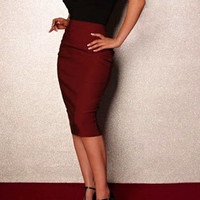 Classic pencil skirt in burgundy  choose your size  or your mesurments