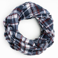 Infinity Plaid Scarf Eternity Scarf Navy Colors Cowl Women Men Fall Winter Fashion Accessories Gift Ideas