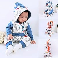 Fashion Romper Baby Romper Winter Baby Clothes Baby Boy Girl Clothes Baby Romper Hooded Cartoon Dinosaur Jumpsuit Outfits Z4
