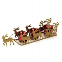 Santa`s Sleigh And Reindeer Christmas Candle Holder