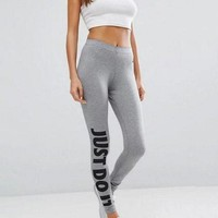 """ NIKE "" ""just do it""Letters Black pants Fashion women Sports trousers White"