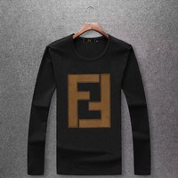 FENDI autumn and winter trend men's round neck long sleeve pullover sweater