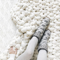 DIY KIT ⨯ Extreme Mega Knit Blanket, Afghan, Throw ⨯ The Corail