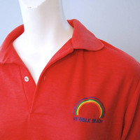 Vintage Pebble Beach Rainbow Polo Shirt Pink Golf Shirt with Embroidered Rainbow Soft, Thin and Worn-In, Preppy California Retro Surfer