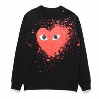Play New fashion love heart splashing ink print keep warm long sleeve top sweater Black