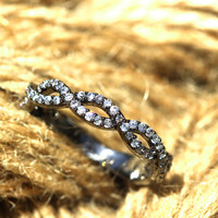 Black Crossed Wave Ring / Cross ed  Two Persons Mind- For Friendship or Love